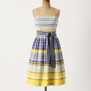 Anthropologie Maeve Strapless Blue/Yellow Dress